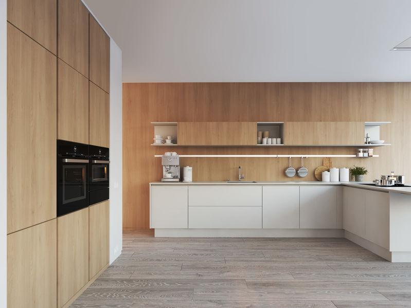 Pareti in legno in cucina contemporanea