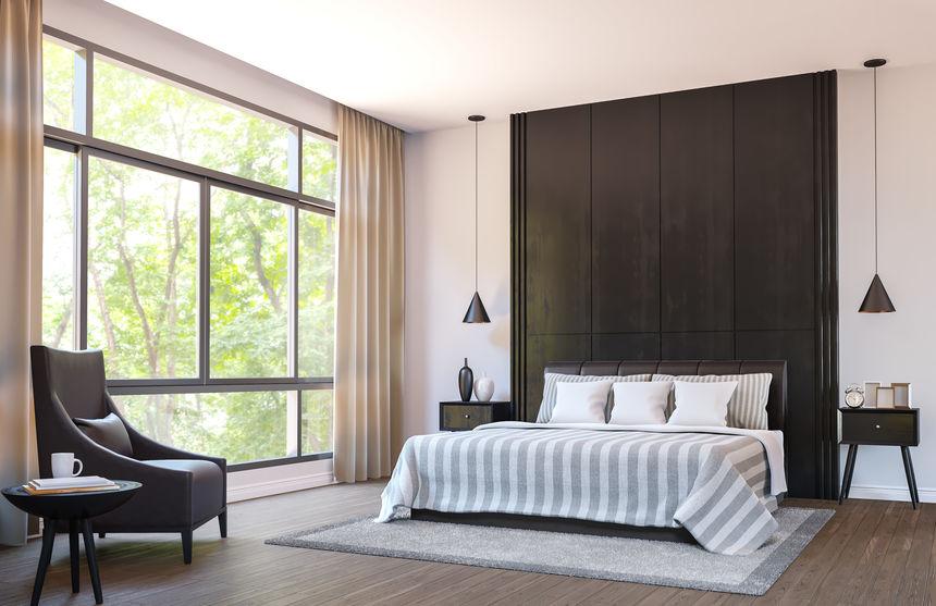 Pareti in legno in camera da letto