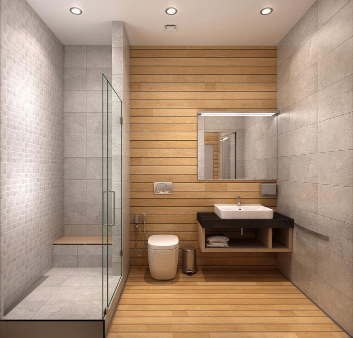 Pareti in legno in bagno