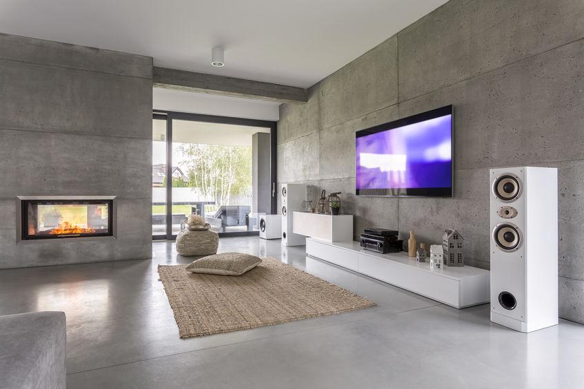 Pareti in cemento in un soggiorno