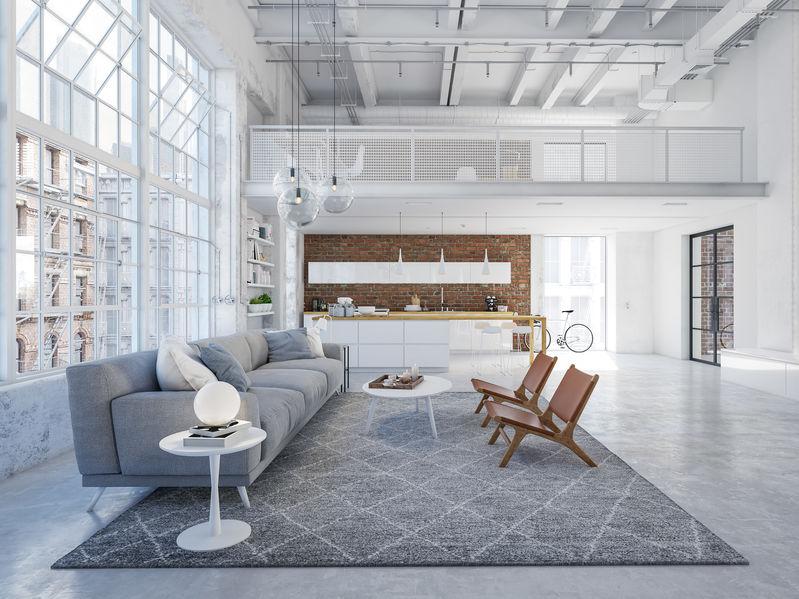 open space tra cucina e soggiorno
