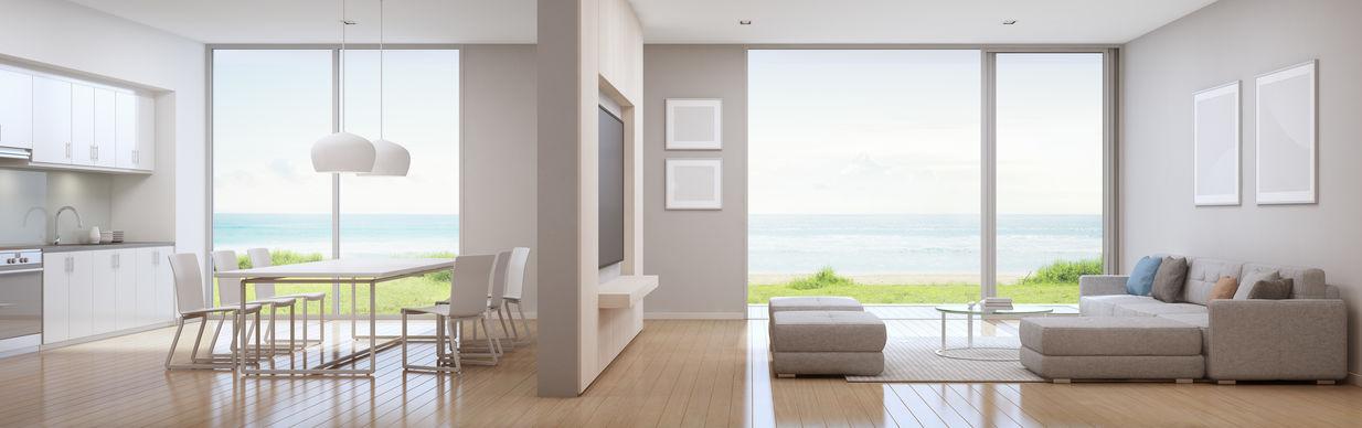 open space cucina soggiorno con parete centrale
