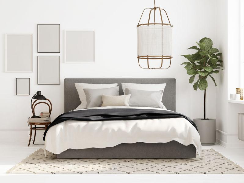 Illuminazione in una camera da letto in stile scandinavo