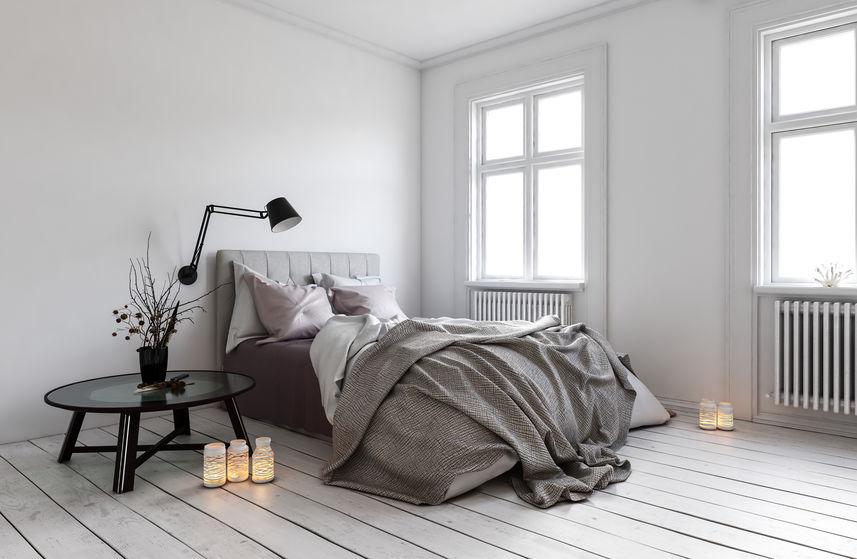 Pavimenti in una camera d aletto scandinava