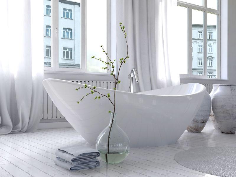 Vasca da bagno in ceramica per una soluzione freestanding