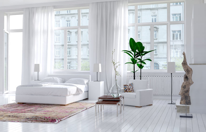 Total white: camera da letto ricercata