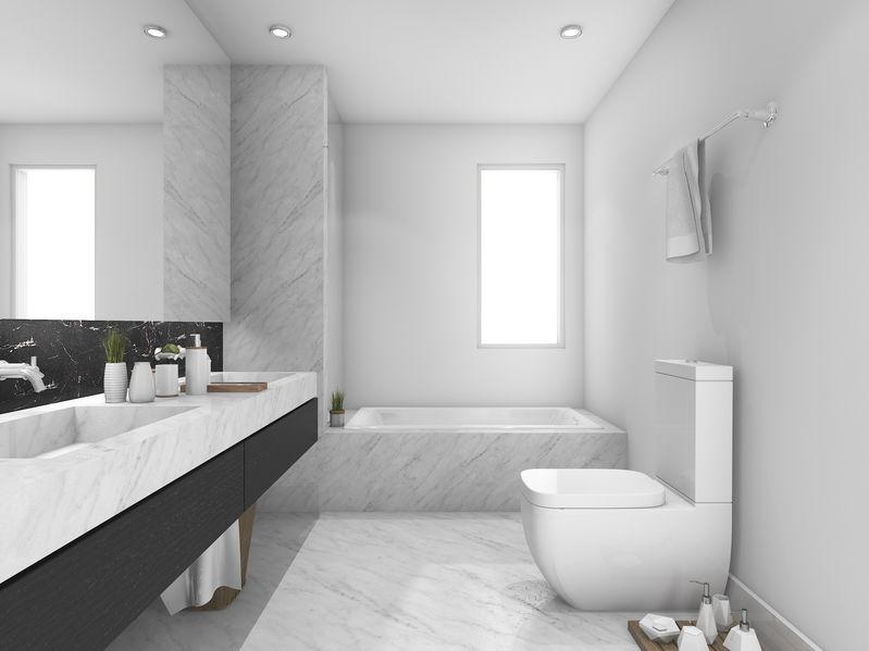 idee marmo di Carrara in bagno