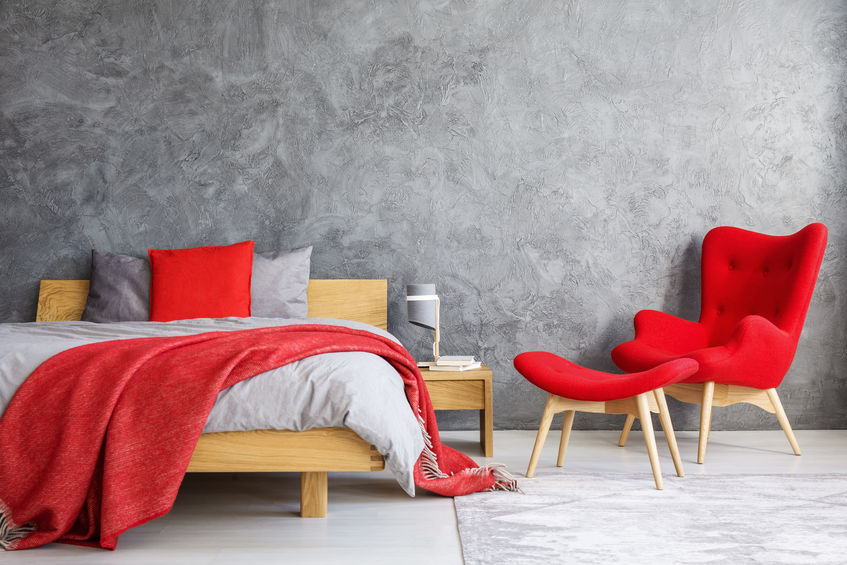 Particolare camera matrimoniale in rosso