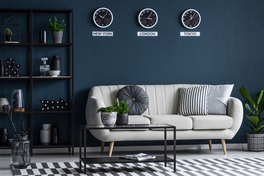 pareti blu salotto