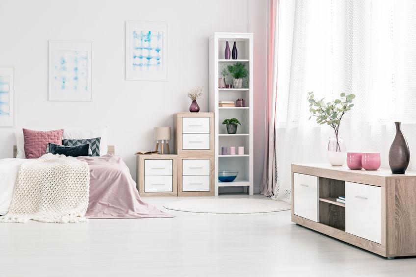 camera ragazze rosa e grigio