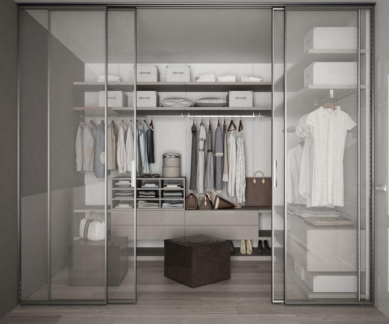 cabina armadio con ante in vetro