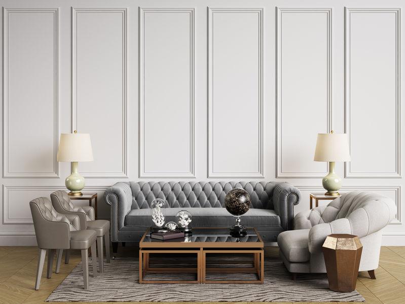 divano in velluto capitonné