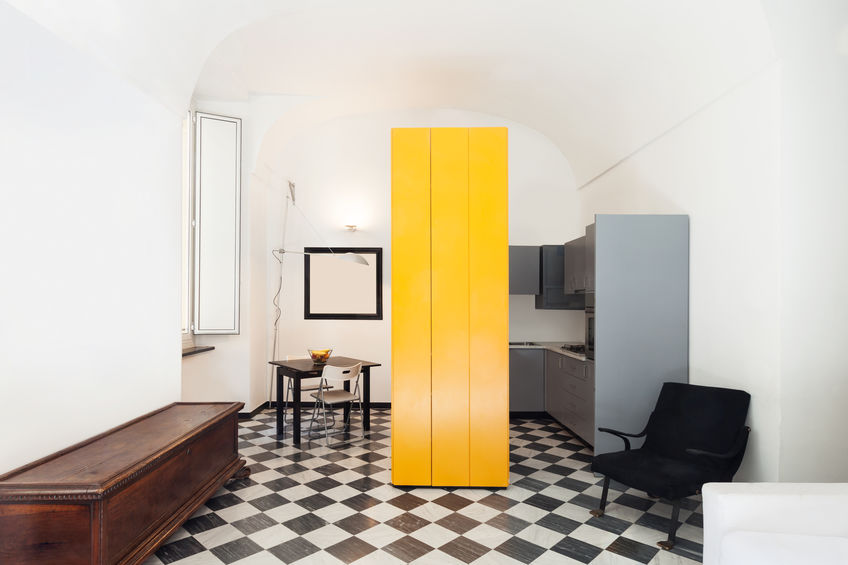 Cucina: pavimento a scacchi bianco e nero