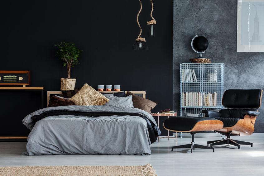 Camera da letto maschile: tinteggiatura e decori