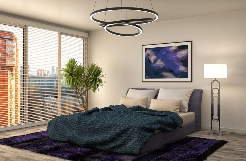 Illuminazione in una camera da letto maschile