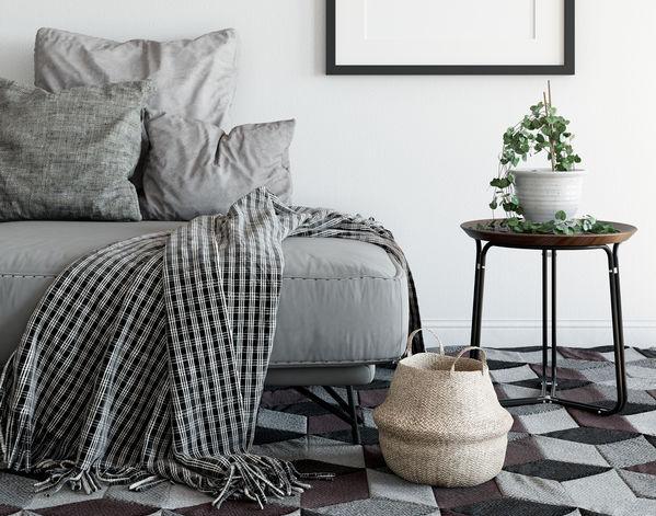 Pavimento: tappeti esagonali in sfumatura di grigi