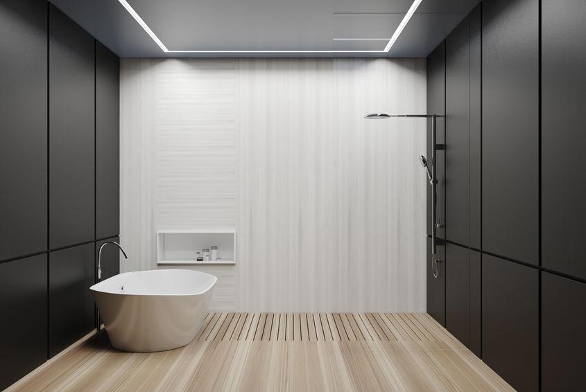 pareti nere bagno moderno