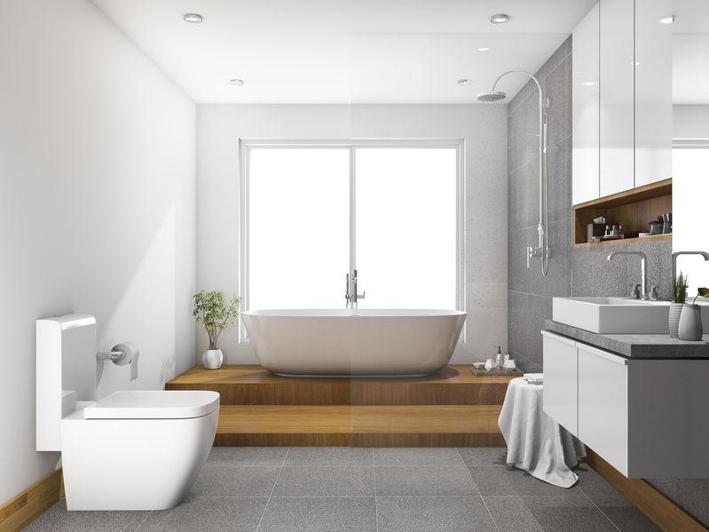 bagno di lusso con vasca e doccia integrate