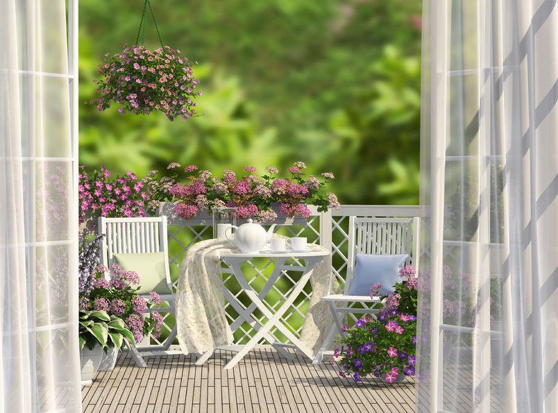 patio con fiori