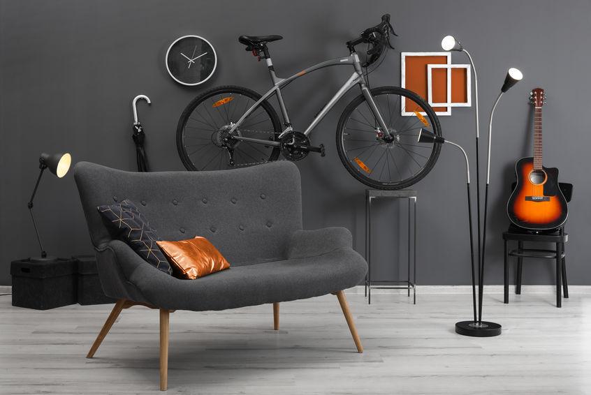bicicletta in soggiorno