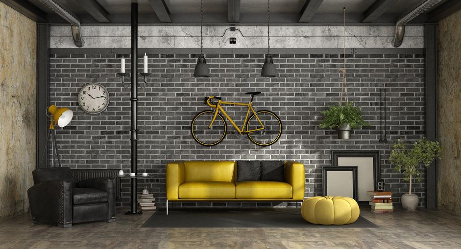 bicicletta in ambiente stile loft