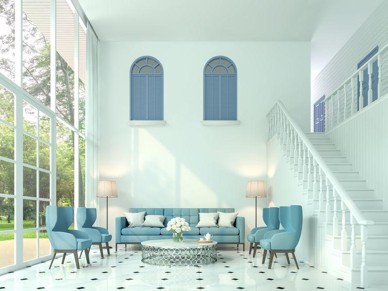 Soggiorno in azzurro: glamour e charme