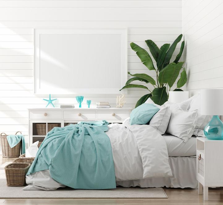 Azzurro per una camera matrimoniale in stile marinaro