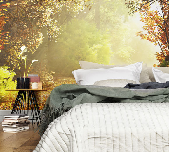 Camera da letto con carta da parati paesaggistica