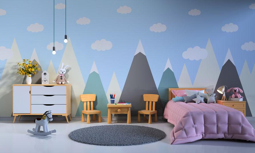 Cameretta dei bambini e pareti con paesaggi