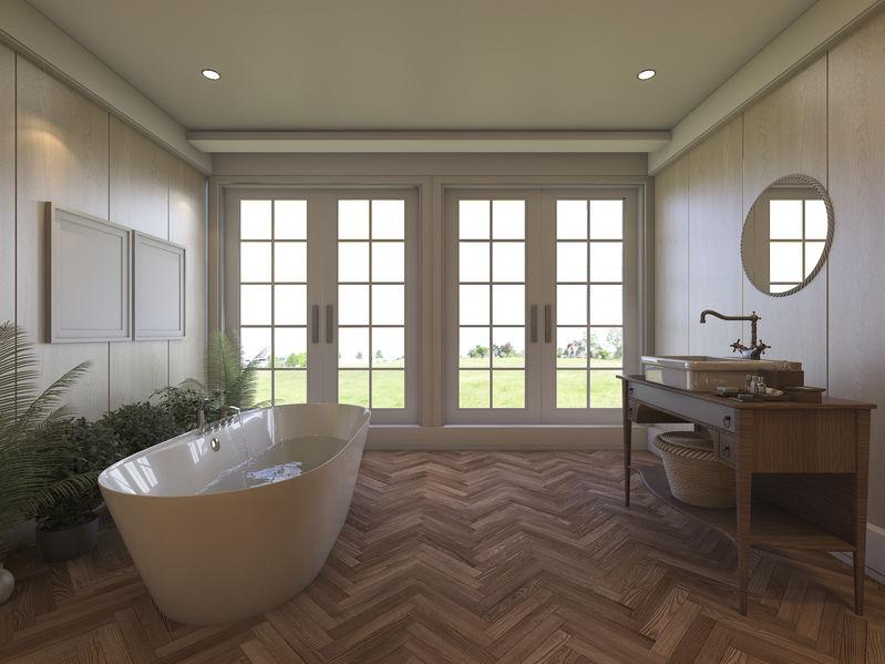 Bagno: pavimento in legno