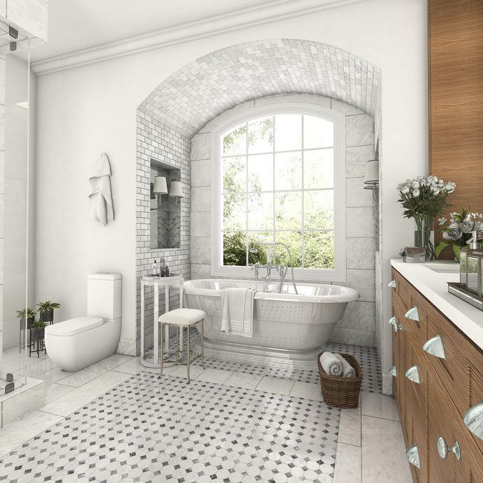 Bagno con pavimento in marmo