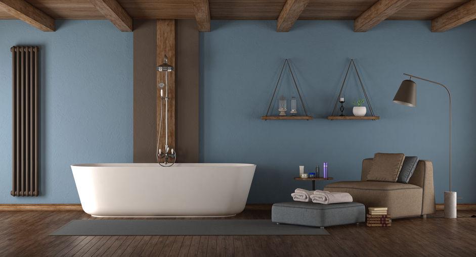 vasca da bagno con colonna doccia