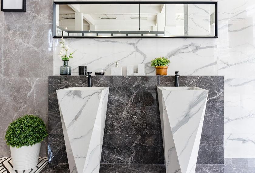 lavabo freestanding sfaccettato