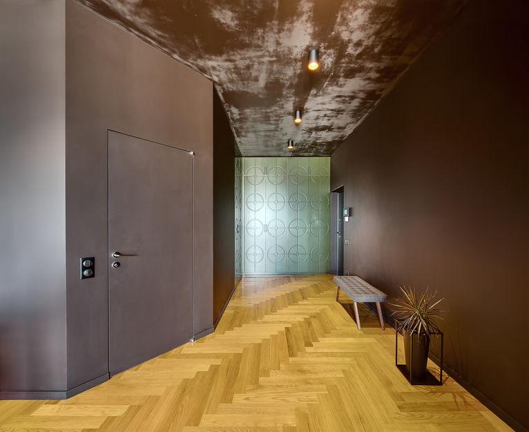Loft: Ingresso minimal e multimaterico
