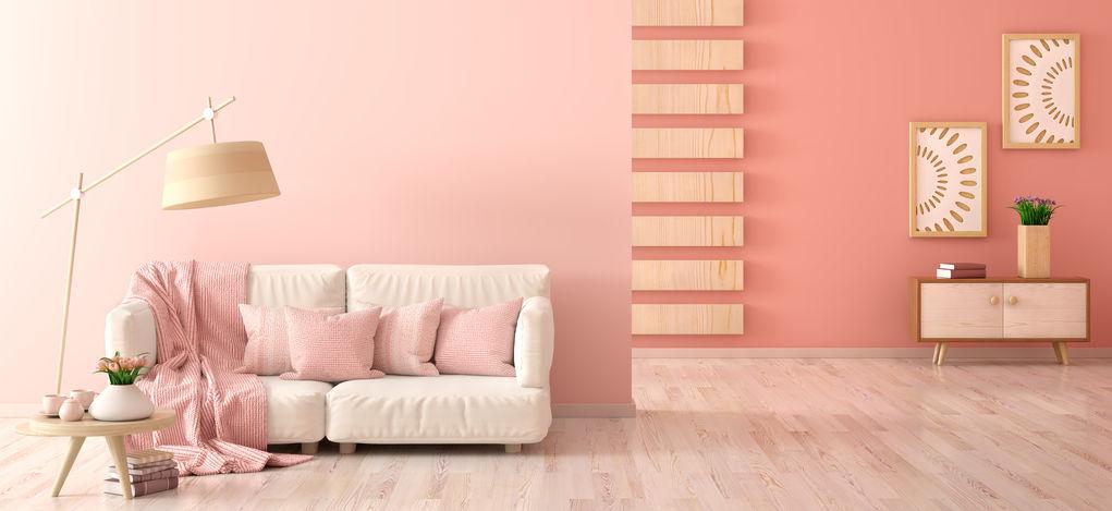 Soggiorno: pareti importanti color corallo