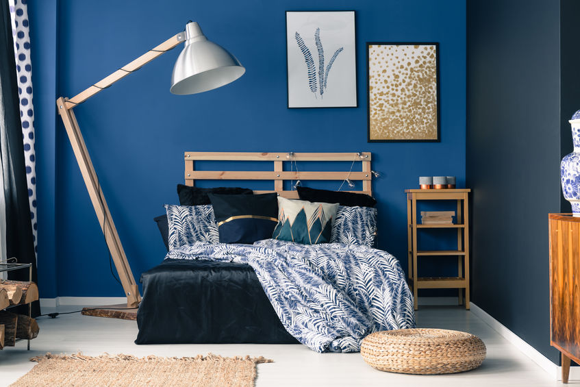 Arredare in blu: camera da letto chic