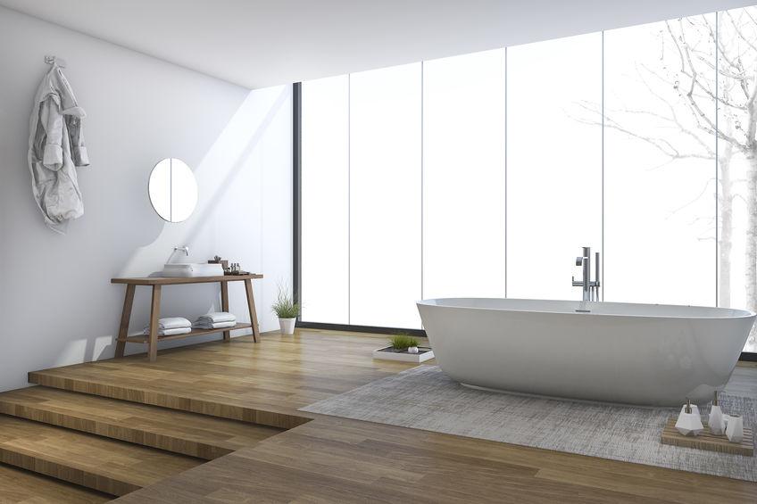 Legno in bagno: un pavimento di design