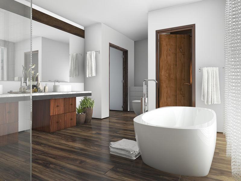 Legno in bagno: pavimentazione di design