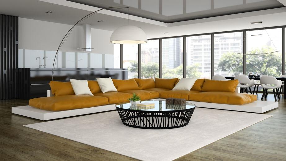 Lampada orientabile in soggiorno con paralume semisferico
