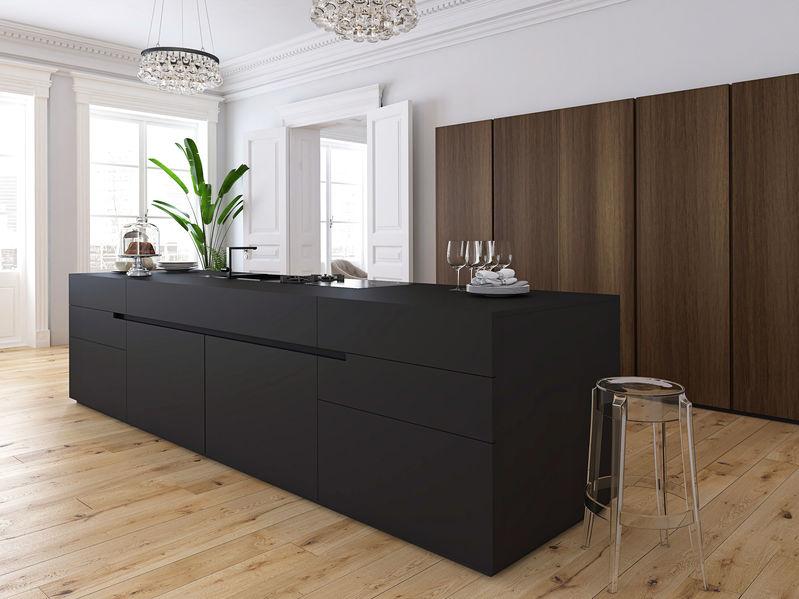cucina nera e legno