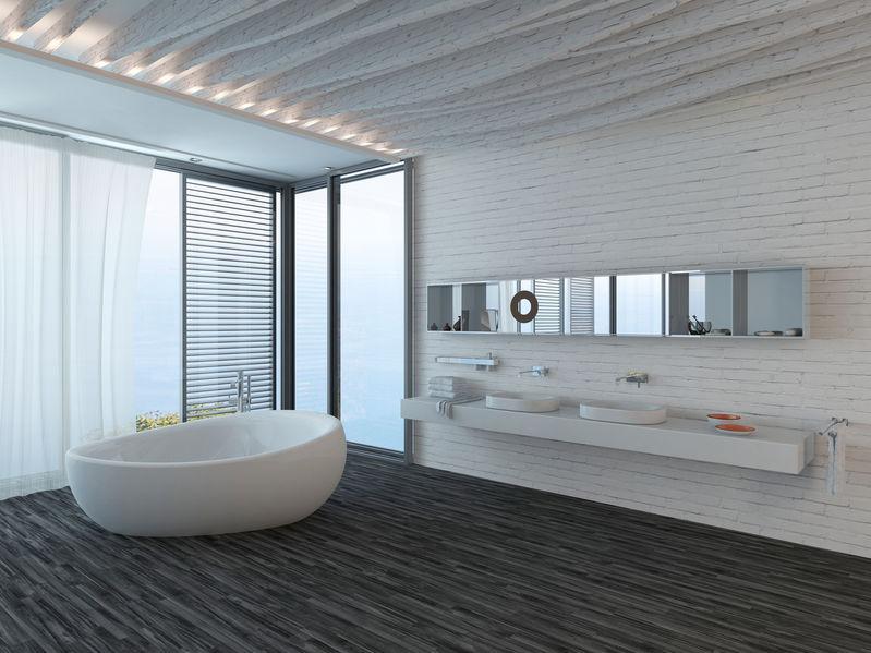 Tende moderne in bagno: soluzione combo