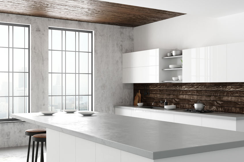 Pareti in cemento: glamour chic in cucina