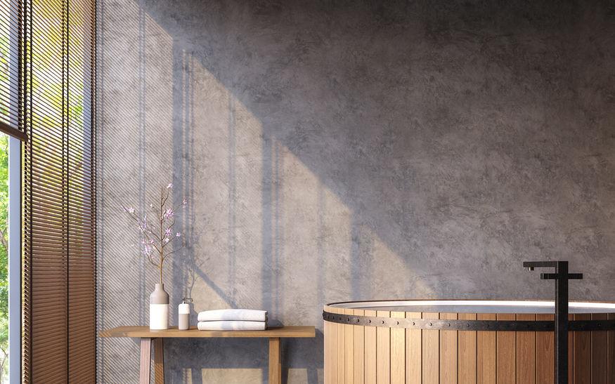 Pareti in cemento: al naturale e di tendenza in bagno