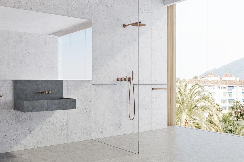 Bagno: lavabo minimal in cemento