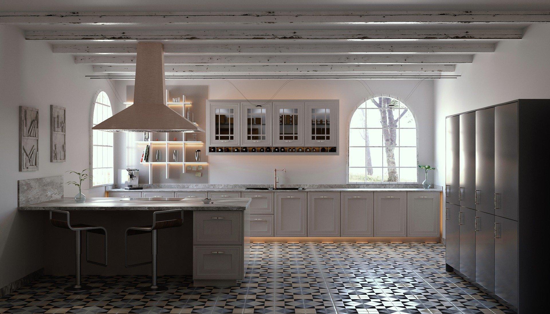 Cucina con pavimento vintage