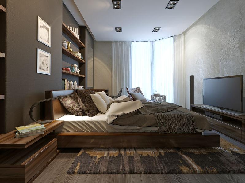 Testiera attrezzata in camera da letto: scaffali e mensole