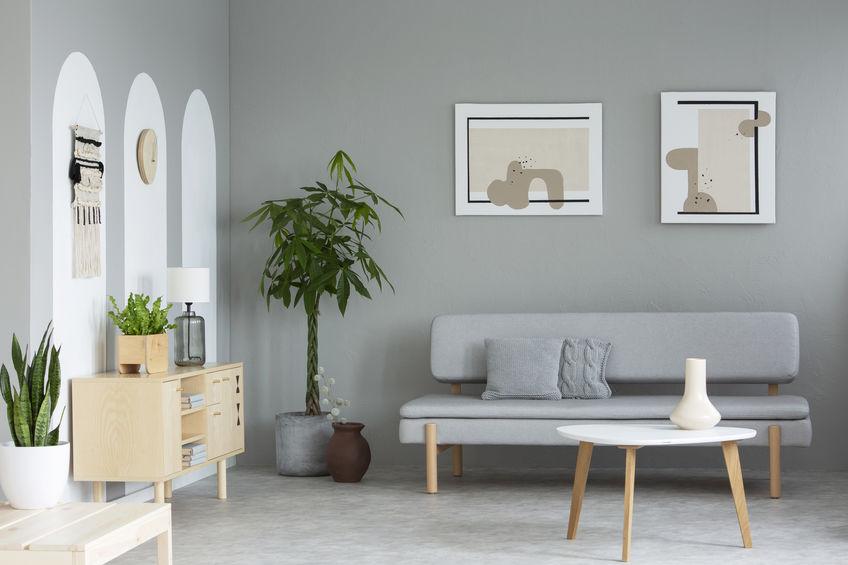 Grigio per un soggiorno dal nordic style