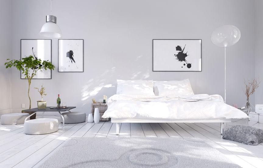 Zona notte: struttura in metallo per il letto matrimoniale