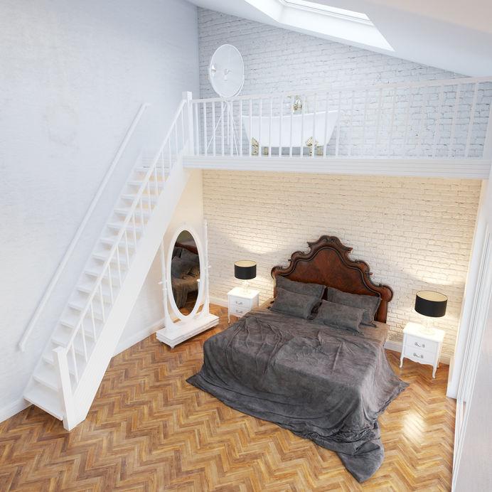 Camera matrimoniale: struttura in legno per il letto