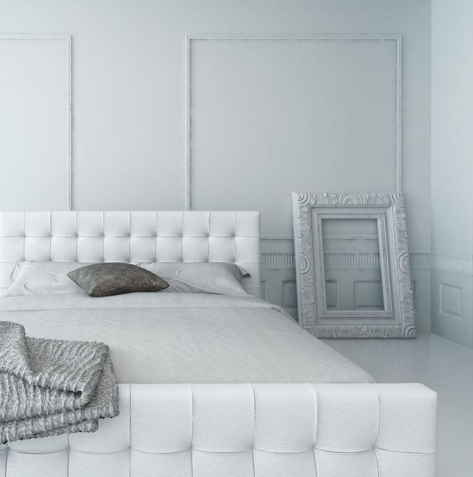 Zona notte: struttura imbottita per il letto matrimoniale
